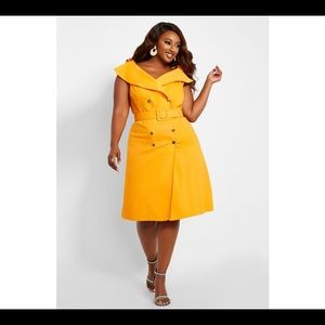 Yellow mustard trench dress